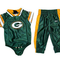 Nfl Green Bay Packers 6-9 Mon Jersey One Piece Pants Outfit Set Reebok Boy Girl Photo