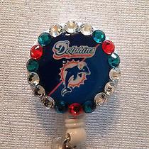 Nfl Miami Dolphins Teal Badge Id Reel W/ Swarovski Crystals - New Handmade Photo
