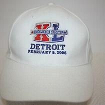 Nfl Super Bowl Xl Detroit 2006 White Cotton Osfa Strapback Cap Hat Excellent Photo