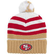 Nfl Team Apparel Youth San Francisco 49ers Cuffed Pom Knit Girls Hat Youth Team Photo