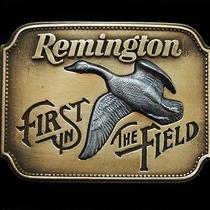 Ng07135 Vintage 1980 Remington (Canada Goose) Sid Bell Art Gun Belt Buckle Photo