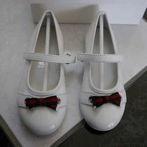 Nib 100% Auth Gucci White Patent Leather Flats Green/red Web Bow Sz 26 311497 Photo
