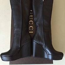 Nib 1295 Women's Gucci  Leather Boots Shoes Black 6.5 Us ( 36.5 Eir ) Italy Photo