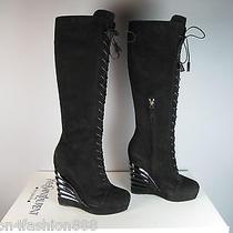 Nib 1595 Ysl Yves Saint Laurent Robyn Black Suede Wedge Platform Boots Sz 39 Photo