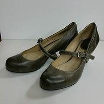 Nib 186.00 Frye Lois Mary Jane Leather Pump Stacked Wood Heels 6 M Slate Photo