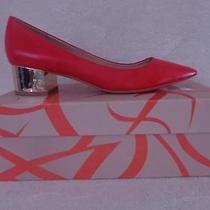 Nib 195 via Spiga Size 8m Guervie Coral Reddish Low Leather Pump Metallic Heels Photo