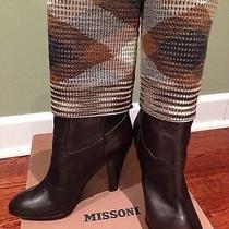 Nib 1k Missoni Mid-Calf Brown Leather Heeled Boots W/ Woven Lining Sz 35/5.5-6 Photo