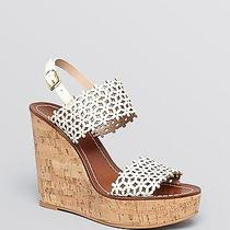 Nib 325 Tory Burch Daisy Perforated Platform Wedge Sandals 9.5  Photo