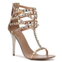 Nib 39 8 8.5 Giuseppe Zanotti Metallic Crystal Sandals Heels Rose Gold 2200 Photo