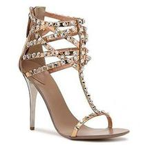 Nib 39 8 8.5 Giuseppe Zanotti Metallic Crystal Sandals Heels Rose Gold 2200 Photo