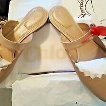 Nib450 Chloe Lauren Maryjane Scalloped Flat Slides Mules Pink-Beige W/patent 39 Photo