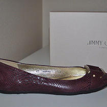 Nib 495 Jimmy Choo Sz 10 Morse Embossed Ballet Flats Shoes Balerina Burgundy Photo