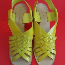Nib 498 Sigerson Morrison 9359 Yellow Wedge Sandal 8 Photo
