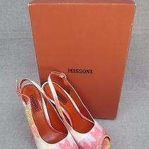 Nib 698 Missoni Slingback Peeptoe Thick High Heel Shoes in Multi-Color Sz 40 Photo