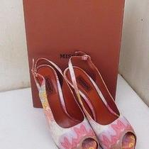 Nib 698 Missoni Slingback Peeptoe Thick High Heel Shoes in Multi-Color Sz 36 Photo