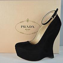 Nib 790 Prada Black Suede Ankle Strap Platform Wedge Sandals 36.5  Us 6 Photo