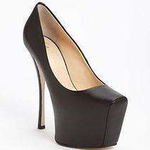 Nib 795 Giuseppe Zanotti Black Leather High Platform Pump Wedge in Sz 37.5 New Photo