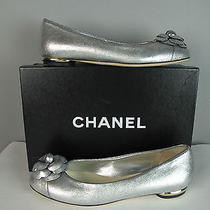 Nib 875 Chanel Silver Leather Camellia Flower Ballerina Flats 38 Us 7.5 Photo