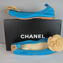 Nib 995 Chanel Straw Flower Front Cork Cap Toe Cc Back Ballet Flats 39.5 Us 9 Photo