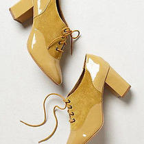 Nib Anthropologie Nina Payne Terina Patent Oxford Heels 39 Yellow Granny Boots Photo