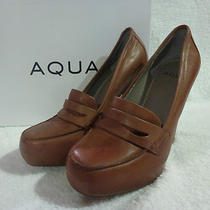 Nib Aqua a Qboss Womens Platform High Heels Shoes Medium Brown Leather Size 7 Photo