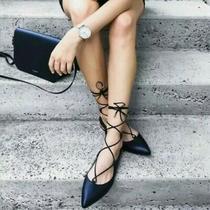 Nib Aquazzura Christy Black Pointed Toe Lace-Up Flats Size 36.5 / Us 6.5  Photo