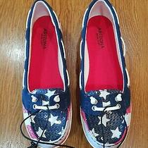 Nib Arizona Jean 4th of July Red White Blue Women's Shoes Boat Shoes Size 8.5 M  Photo