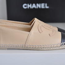 Nib Auth Chanel Classic Iconic Leather Cc Logo Espadrille Flats Loafer Shoe 6 37 Photo