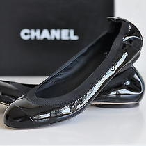 Nib Auth Chanel Stretch Patent Black Cap Toe Ballet Ballerina Flats Shoe 11 / 41 Photo