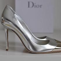 Nib Auth Christian Dior Metal Silver Pointy Toe Pump Shoe Heels 8.5 Us / 38.5 Photo