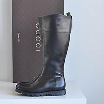 Nib Auth Gucci Meguro Black Leather Zip Up Knee High Boots Shoe 6.5 Us 36.5 Eu Photo
