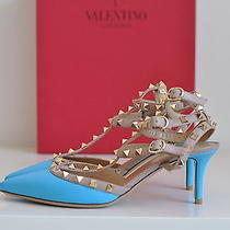 Nib Auth Valentino Rockstud Blue T-Strap Studded Stud Point Pump Heels 6.5 36.5 Photo