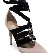 Nib Auth. Valentino Velvet Lace Up Pumps Blush Black Suede Heels Shoes 37 7 995 Photo