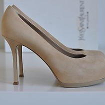 Nib Auth Ysl Yves Saint Laurent Tribtoo 80 Suede Platform Pump Heels 9 / 39 Photo