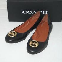 Nib Authentic Coach Bailey Black Leather Gold Tone Logo Ballet Flats Size 9 M Photo