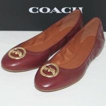 Nib Authentic Coach Bailey Wine Leather Gold Tone Logo Ballet Flats Size 9 M Photo