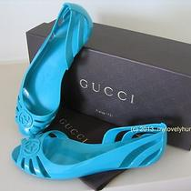 Nib Authentic Gucci Women's Jade Mystic White Sandals Flats Sz 36 6 Aqua Jelly Photo