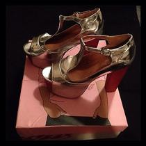 Nib Authentic Jeffrey Campbell Silver With Wood Platform Size 6  Photo