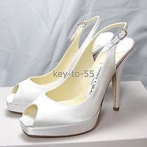 Nib Authentic Jimmy Choo Clue White Satin Wedding Shoes Heels Bridal 34.5 Photo