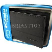Nib Authentic Mens Columbia Slimfold Wallet 31cp1300 Black  Gift Box  Photo