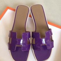 Nib Authentic New Color Hermes Red Oran H Sandals Slippers 37/7 Purple Violet Photo