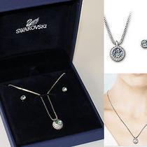 Nib Authentic Swarovski Glamorous Flirt Aqua Set Necklace Earrings 1070056 Photo