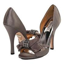 Nib Badgley Mischka Babette  Heels d'orsay Satin Wedding Bridal Shoes Smoke 95 Photo