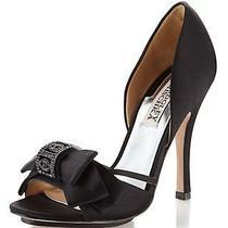 Nib Badgley Mischka Babette Ii Heels d'orsay Satin Wedding Bridal Shoes Black 8 Photo