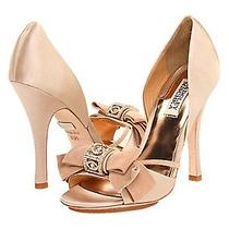 Nib Badgley Mischka Babette Ii Heels d'orsay Satin Wedding Bridal Shoes Nude 8 Photo