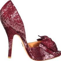 Nib Badgley Mischka Mable Heels Pump Wedding Bridal Bow Shoes Wine 75    Photo
