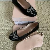 Nib Bally Ballyrina Black Leather Embroidered Bow Ballet Flats Set 35 4.5 340 Photo
