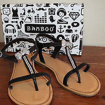 Nib Bamboo Black Rhinestone Ribbon Bow Sandals Sz 10 Photo