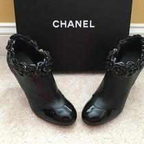 Nib Black Leather Chanel Booties With Patent Camilla Flowers Size 37.5 1500 Photo