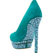 Nib Brian Atwood Beaded Shoes Heels Pumps Aqua Green 8.5 38.5 8 1/2 Wow Photo